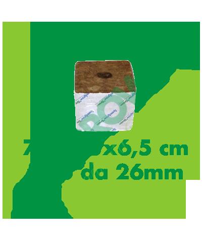 Cubo Di Lana Di Roccia 7,5x7,5x6,5 (Foro 26 mm)  0,40€