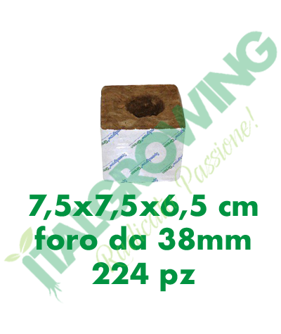 Cubo Di Lana Di Roccia Speedgrow 7,5x7,5x6,5 (Foro 38 mm) 224 Pezzi  85,00€