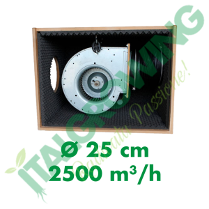 ESTRATTORE SUPER INSONORIZZATO CYCLONE SOFT-BOX IN LEGNO HDF 25 CM (2500 M3/H) Cyclone 399,00€