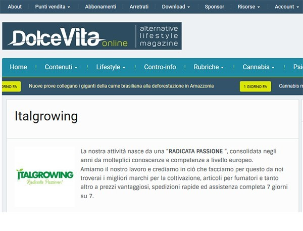 """Anche """"DolceVitaOnline""""  parla di Italgrowing"""